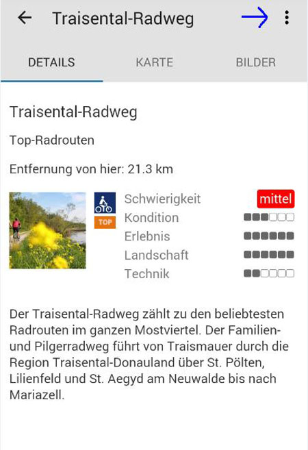 Radfahren App Screenshot